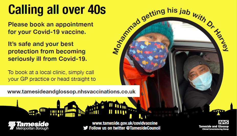 Calling all over 40s for Covid vaccination