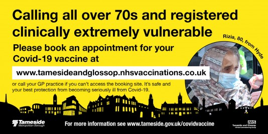 Calling all over 70s and registered clinically extremely vulnerable Please book an appointment for your COVID vaccine