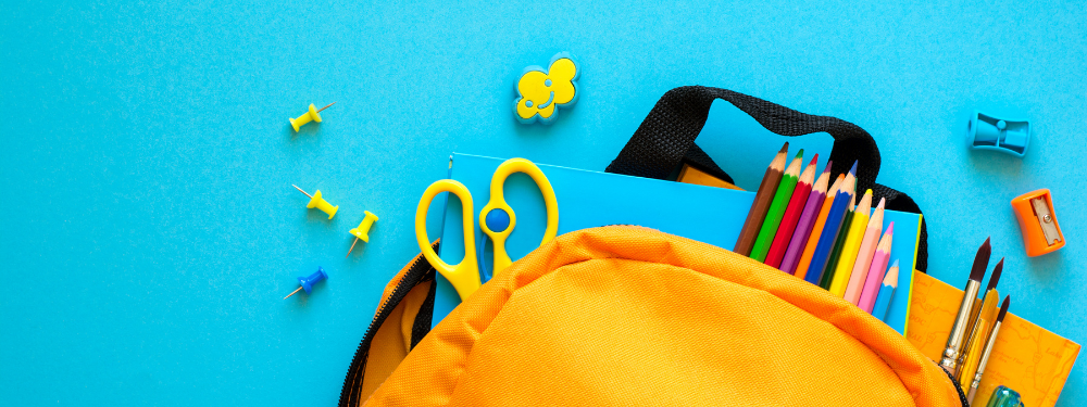School back pack and stationery