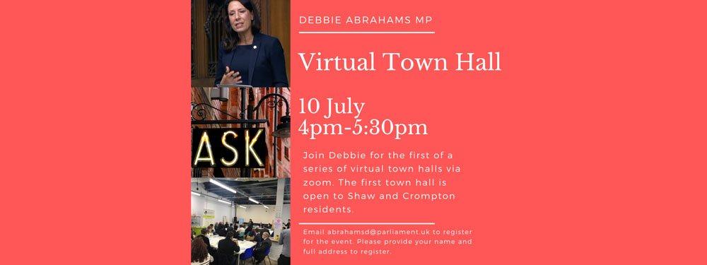 Debbie Abrahams MP virtual town hall meeting