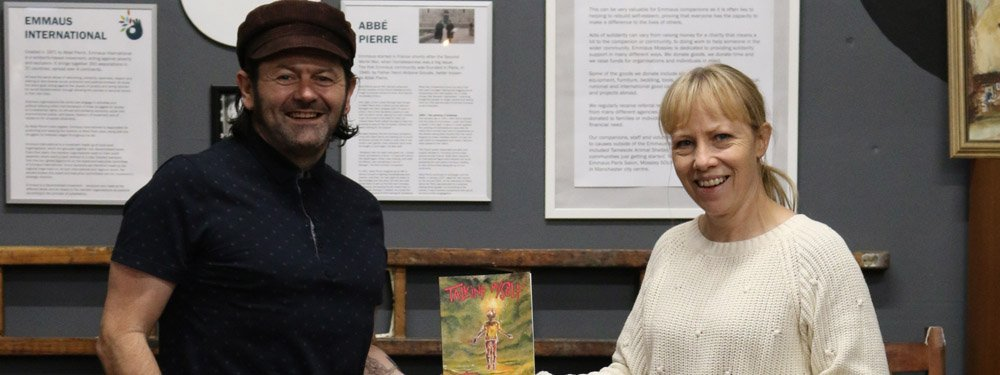 Spoken word artist Jack Horner with Alison Hill, Director of Emmaus Mossley