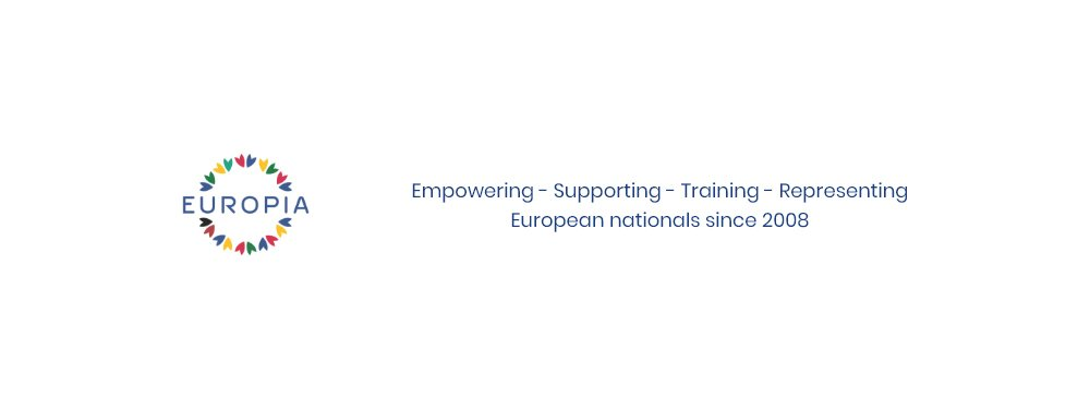 Europia logo - empowering, supporting, training, representing European nationals since 2008