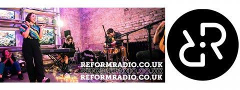 Reform Radio logo and performer