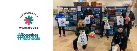 Rochdale AFC players visit the Community Warehouse