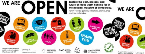 Visit People's History Museum - we are open, don't visit if unwell, follow the route, wear face coverings, enhanced cleaning, thank you